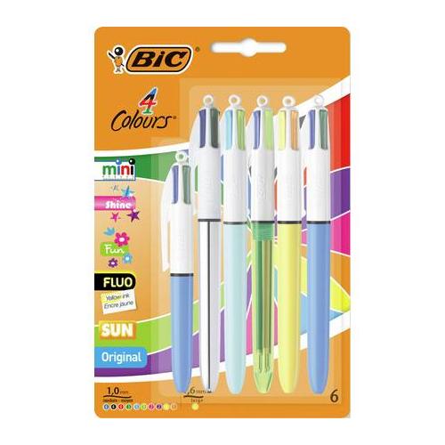 6 Pack - BIC 4 Colour Ballpoint Pens £4.50 @ Argos - Free C&C