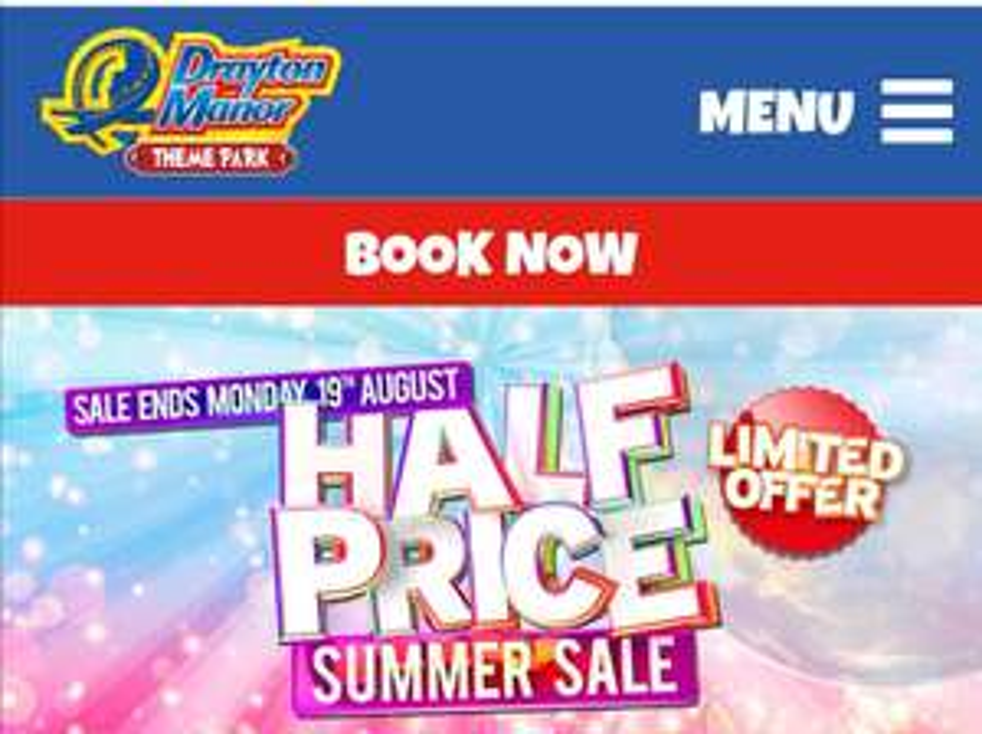 Drayton Manor Half Price Ticket Sale - £19.50