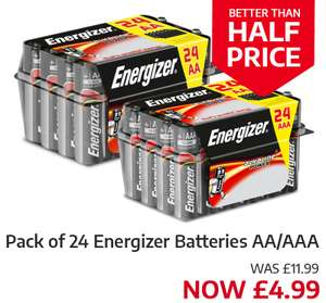 24 AA/AAA Energizer batteries £4.99 @ Ryman (INSTORE ONLY) with voucher