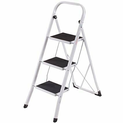 VonHaus Heavy Duty Steel Folding Portable 3 Wide Step Ladder with Gripped Tread Anti-Slip £17.99 @  DOMU UK Amazon