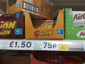 Reduced to Clear 4 Lion Peanut Bars Tesco 75p instore