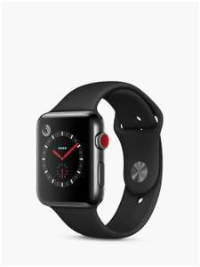 Apple Watch Series 3, GPS and Cellular, 42mm Space Black Stainless Steel Case with Sport Band £400 at John Lewis & Partners