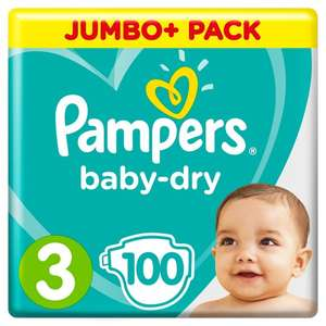 3 x 100 packs of Pampers Baby Dry all sizes Jumbo+ Nappies £25 at Tesco