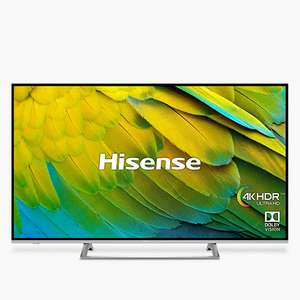 "Hisense H50B7500UK (2019) LED HDR 4K Ultra HD Smart TV, 50"" with Freeview Play, Black/Silver - John Lewis & Partners price match - £449"