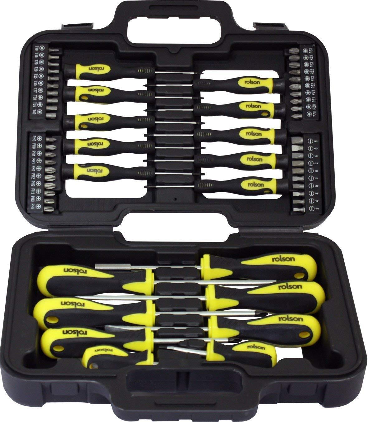 Rolson 28882 Screwdriver Set - 58 Pieces - was £15.49 now £9.99 (Prime) / £14.48 (Non-Prime)  @ Amazon
