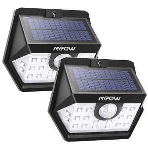Mpow 20 LED Solar Powered Security Lights with Motion Sensor (2 Pack) £6.39 - Sold by MPOW Direct-sale and Fulfilled by Amazon.
