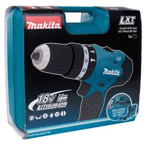 Makita DHP453SFTK 18V LXT Combi Drill with 101 Piece Accessory Set for £82.50 Homebase