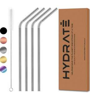 HYDRATE Stainless Steel Straws Reusable Eco Friendly - BPA Free Metal Straw (4 Pack, Silver Curved) £1.95 + £4.49 del @ iGadget Tradings FBA