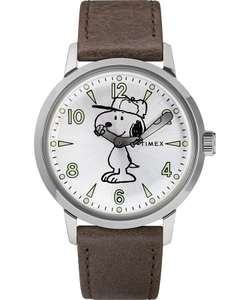 Timex x Peanuts Welton Snoopy Watch 40mm, Indiglo, Acrylic, Leather Strap, 30M WR, Stainless Steel, £89 + £2.95 P&P = £91.95 End Clothing