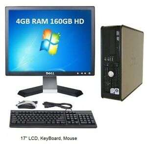 "Refurb Win 7 Dell Optiplex Dual Core Computer Set 4GB RAM 160GB HD 17"" LCD computer, screen, keyboard, mouse at ebay/hightech-gb for £49.99"