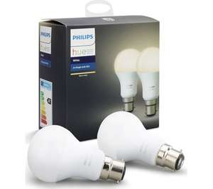 Philips Hue White Personal Wireless Lighting LED B22 (Bayonet) Twin Pack at Base.com for £21.99