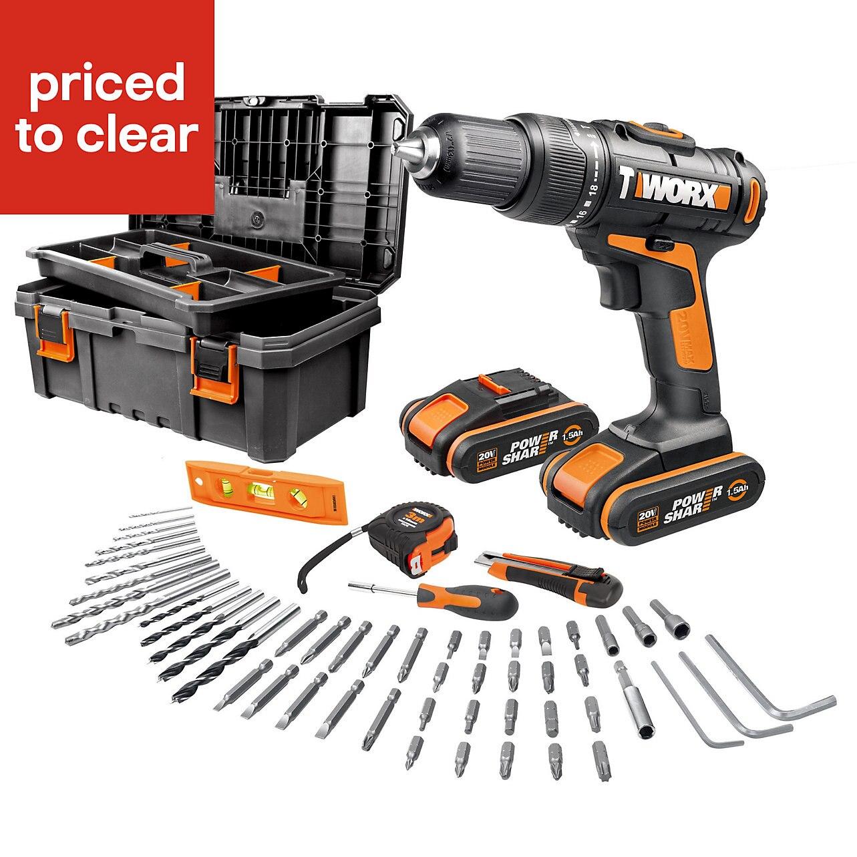 Worx Cordless 20V 1.5Ah Li-ion Brushed Drill + extra battery + extras £53 at B&Q