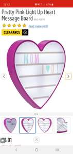 Pretty Pink Light Up Heart Message Board Only £3.01 at Argos C&C