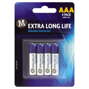 Amazon (Morrisons brand) 4 pack of AAA batteries for 42p - Amazon Pantry (£15 minimum order +£3.99 delivery)