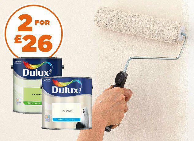 All Dulux coloured emulsion 2.5litre 2 for £26 @ Homebase
