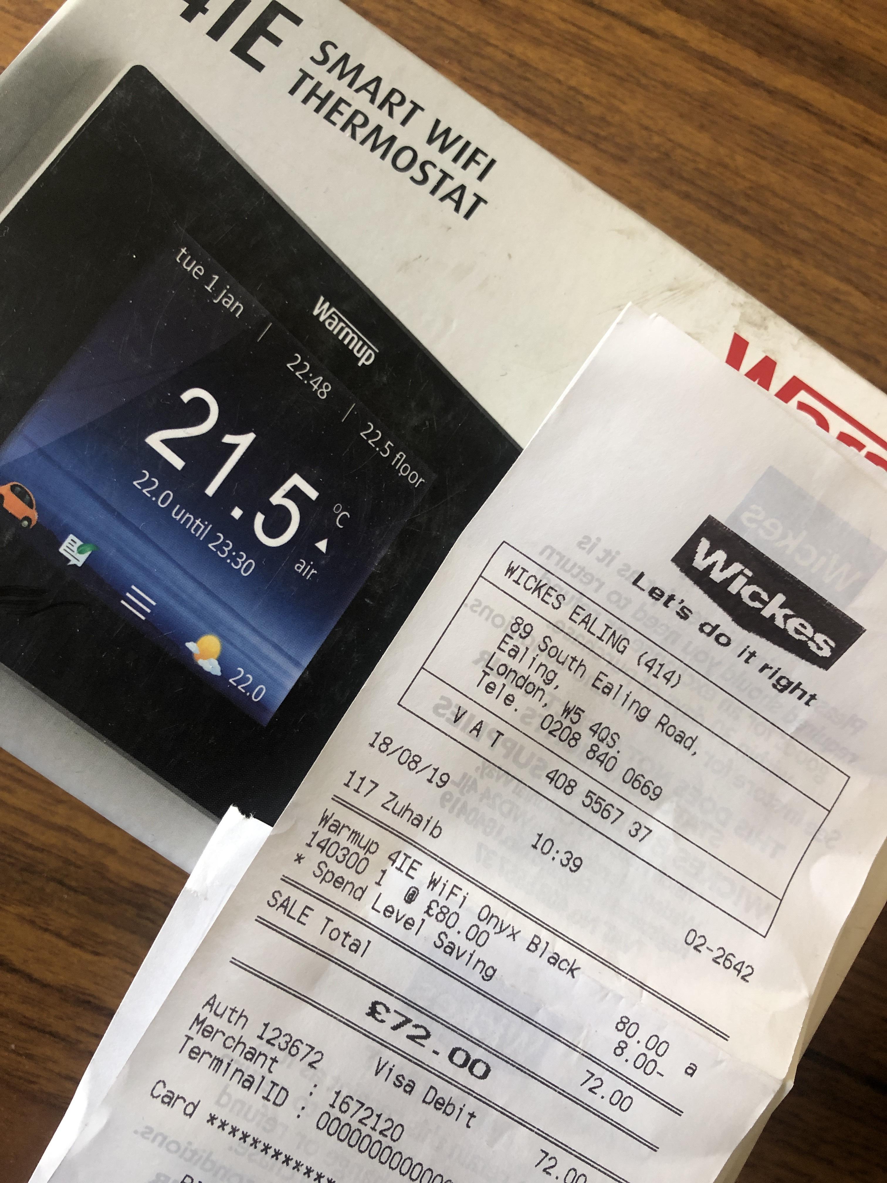 Warm up 4iE smart wifi thermostat £72 @ Wickes