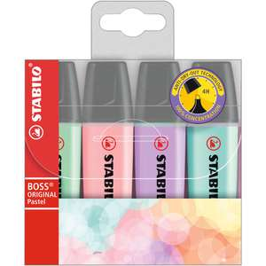 Highlighter - STABILO BOSS ORIGINAL Pastel, Assorted Colours, Wallet of 4 - £2.66 at Amazon Prime / £3.65 Non Prime