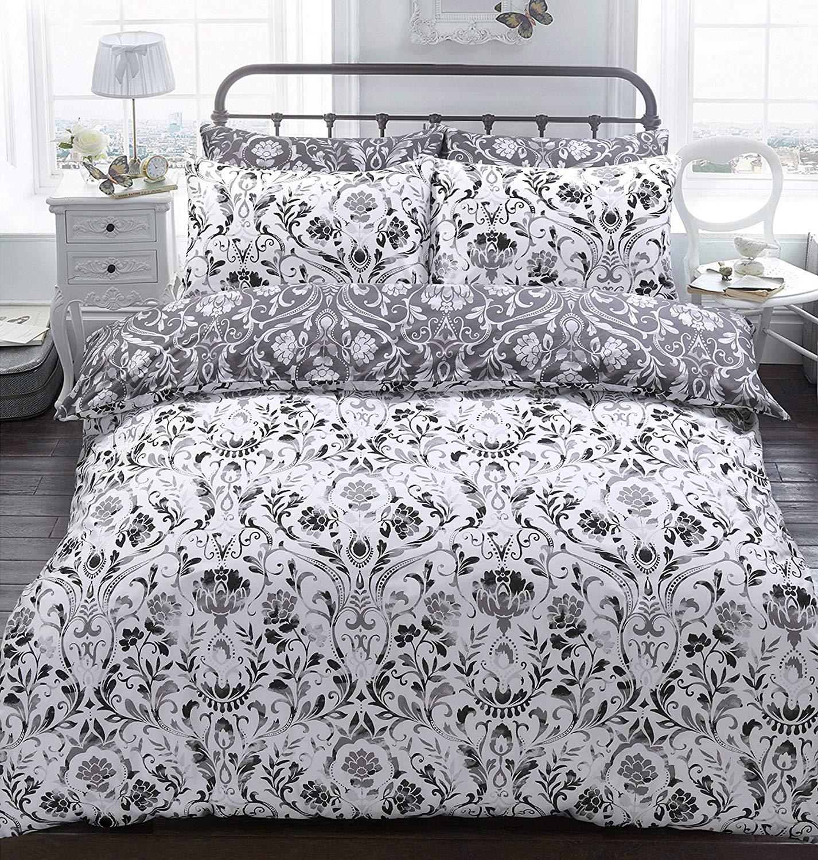 Sleepdown Painted Damask Monochrome Reversible Duvet Quilt Cover + PillowCases (Super King) Duck Egg @ Amazon £9.81 Prime £14.30 Non Prime