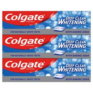 Colgate Deep Clean Whitening with Baking Soda Toothpaste 3 x 75ml Multipack now £3 add-on item at Amazon