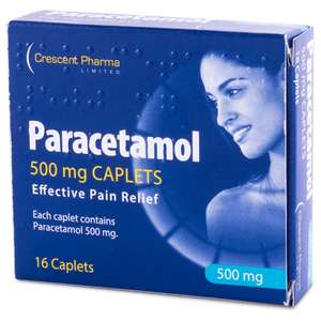 Crescent Pharma Paracetamol 500mg/caplet 16 caplets at 15p in Poundstretcher