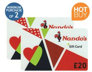 £40 (2X £20) Nando's Gift Cards Multipack for £33.99 (Instore), 2X £40 Min. for £67.98 online Delivered(No VAT) for Costco Members @ Costco