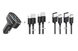 TeckNet 4 Port/48W Car Charger with FREE 2x USB-C & 2x Micro USB Cables £8.99 (Prime) + £2.99 (non Prime) Sold by Bluetree & FBA