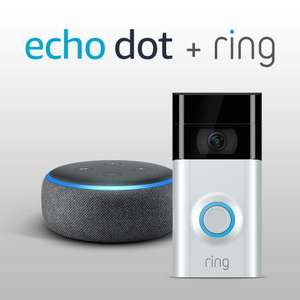 The New Echo Dot - Charcoal Fabric plus Ring Video Doorbell 2 £139 at Amazon