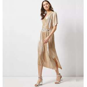 Gold D-Ring Plisse Wrap Midi Dress (Was £22.00) Now £9.00 with Free Click & Collect @ Dorothy Perkins