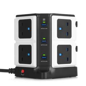 BESTEK 8 Way Surge Protected Tower Extension with 6-Port (5V/8A) USB in Black £29 Sold by BESTEK GLOBAL LTD and Fulfilled by Amazon.