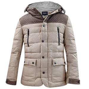 Mens Padded Two-Tone Hooded Jacket Brown  only Small size £7.99 @ Truefaceuk Amazon