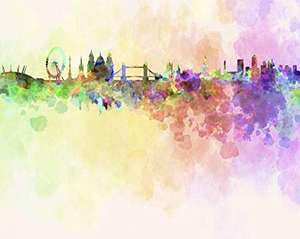 Ohpopsi London Skyline In Watercolour Wall Mural - XL 3.5m (W) X 2.8m (H) for £5 @ Wickes (C&C £7.95)
