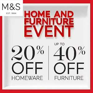 20% Off all Marks and Spencer Homeware / Upto 40% off Furniture Free click and Collect