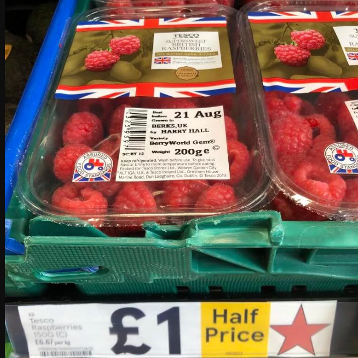 Raspberries £1 Half Price Tesco Express