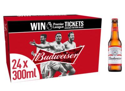 Budweiser Lager Beer Bottles 300ml x 24 bottles for £12 @ Asda