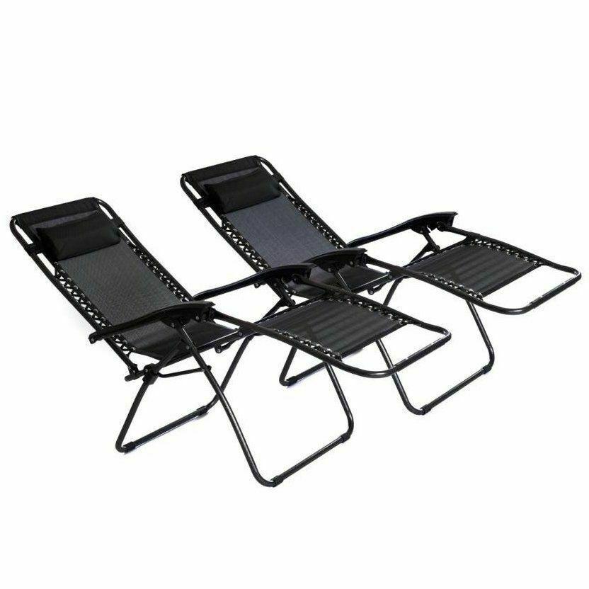 Reclining Sun Lounger Outdoor Garden Patio Gravity Chair Twin Pack - £38.95 @ unlimitedseller ebay