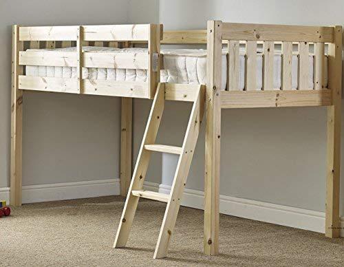 Cabin Bed 3ft single wooden midi sleeper - childrens pine bed Heavy Duty £97.12 @ Amazon