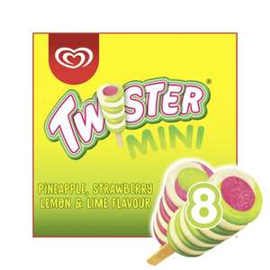 Twister Pineapple, Lemon-Lime and Strawberry Mini Ice Cream Lolly 8 x 50ml £1.50 at Iceland