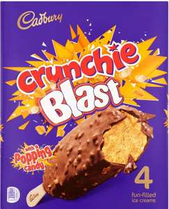Cadbury Crunchie Blast with Popping Candy Fun-Filled Ice Creams 4 x 100ml (400ml) £2 at Iceland