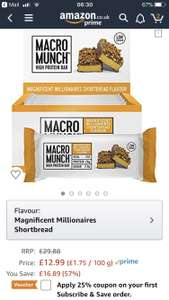 BULK POWDERS Macro Munch Protein Bar, Magnificent Millionaires Shortbread, 62 g, Pack of 12 - £10.71 w/ coupon / +£4.49 non Prime @ Amazon