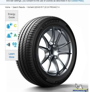 Michelin 225/45 R17 (91)W Primacy 4 - Fitted for £66.99 in Costco (members only)