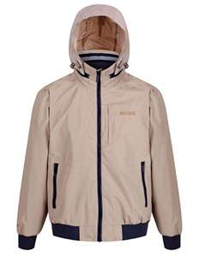 Regatta Men's Maxfield Waterproof Hooded Bomber Style Jacket Cream Size S (37-38'' Chest) £8.46 delivered w/Prime/ £12.95 Non-Prime @ Amazon