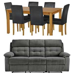 Argos Home Ashdon Solid Wood Table & 6 Mid Back Chairs £214.94 Delivered / June 3 Seater Recliner Sofa £308.44 Delivered  @ Argos