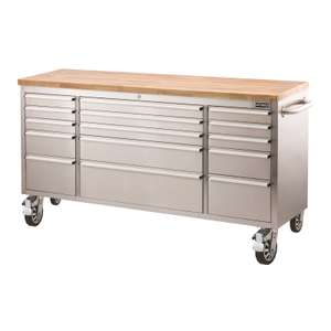 """72"""" Stainless Steel 15 Drawer Tool Trolley reduced from £605 to £450 @ Homebase"""