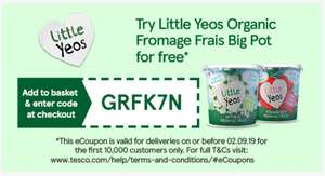 Little yeos fromage frais big pot 340g - £1.50 / free with code @ Tesco online.