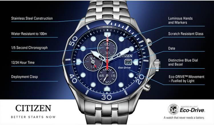 Citizen Eco-Drive Men's Stainless Steel Chronograph Watch - £129.99 @ Argos
