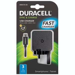 Duracell 2.4A Micro USB Mains Charger - Black (3yrs. warranty) for £ 4.64 Delivered using Code @ Mymemory