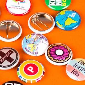 50 Custom 32 mm x 32 mm round button badges from Stickermule - £6.80 inc. free delivery