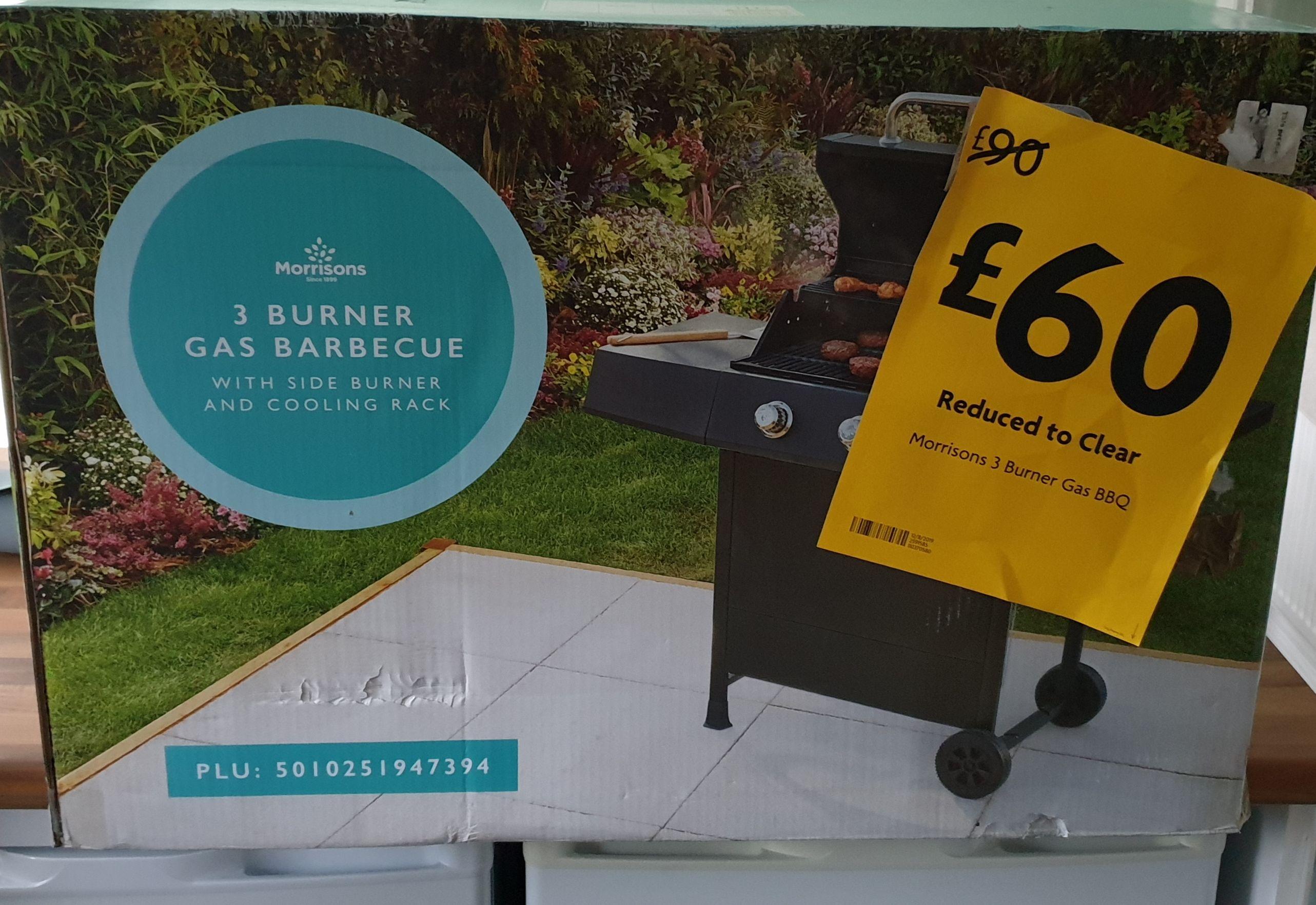 Morrisons 3 Burner Gas BBQ with Side Burner - £60 Instore @ Morrisons