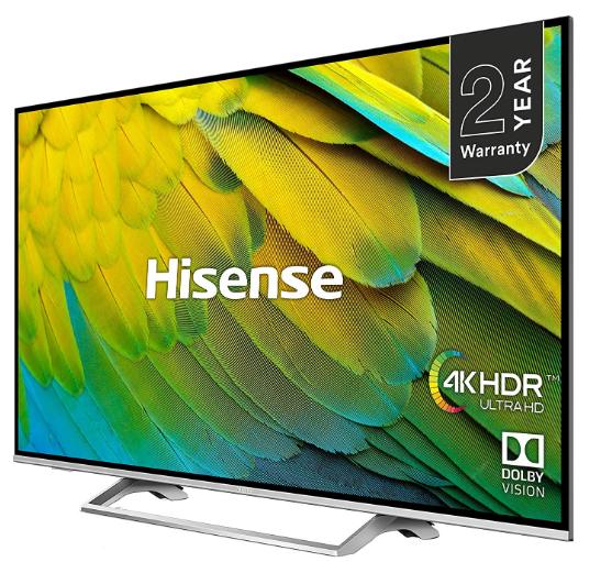 "55"" Hisense H55B7500UK 4K HDR Certified Smart TV Unibody + 2 Year Warranty (£429 with cashback) - £479 w/code @ Hughes"