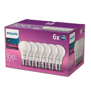 Philips LED B22 Frosted Light Bulbs 13W (100W) - Warm White (Pack of 6) - now £5.99 @ Amazon